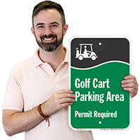 Golf Cart Parking Area Permit Required Signs