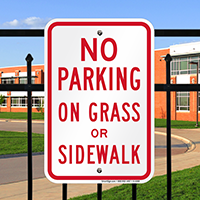 No Parking on Grass or Sidewalk Signs