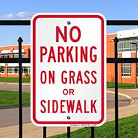 No Parking on Grass or Sidewalk Signs