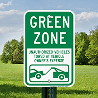 Green Zone, Unauthorized Vehicles Towed Signs