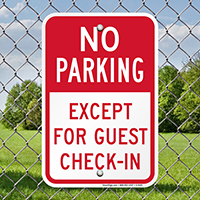 No Parking, Except For Guest Check-In Sign