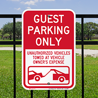 Guest Parking Only, Unauthorized Vehicles Towed Signs