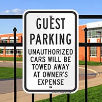 Guest Parking, Unauthorized Cars Towed Signs