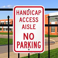 Handicap Access Aisle No Parking Signs