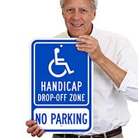 Handicap Drop Off Zone No Parking Signs