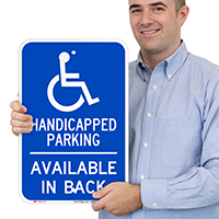 Handicapped Parking, Available In Back Signs