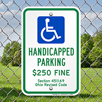Handicapped Parking $250 Fine Signs