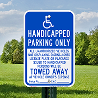 Handicapped Parking Only, Reserved Parking Signs