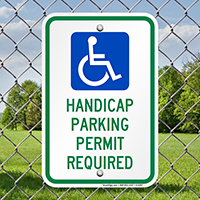 Handicapped Parking Permit Required Signs (with Graphic)