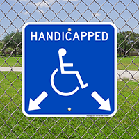 Handicapped Parking With Double Arrows Sign