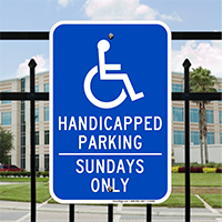 Handicapped Parking - Sundays Only Signs