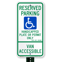 Arizona Reserved ADA Parking Signs, A.R.S. § 28-884