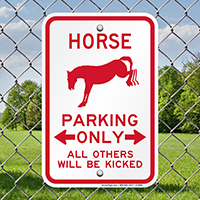 Horse Parking Only Funny Parking Sign