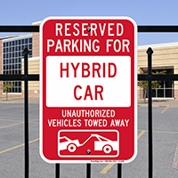 Reserved Parking For Hybrid Car Signs