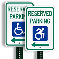 Reserved Parking ADA Disability Signs With ISA Symbol