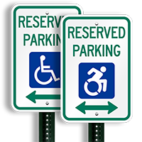 Reserved Parking Sign With Bidirectional Arrow, ISA Symbol