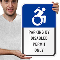 Parking By Disabled Permit Only ISA Symbol Signs