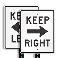 Keep Right (right arrow) Aluminum Parking Sign