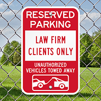 Law Firm Clients Only Reserved Parking Signs