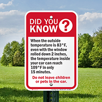 Do Not Leave Children Pets In Car Signs