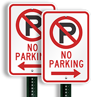 No Parking Signs (with left arrow symbol )