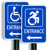 Accessible Entrance Signs (symbol and right arrow)