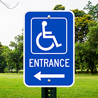 Entrance Handicapped Signs (handicapped symbol and right arrow)