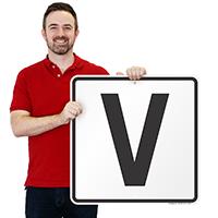 Letter V Parking Spot Signs