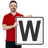 Letter W Parking Spot Signs