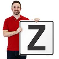 Letter Z Parking Spot Signs