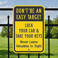 Lock Your Car & Take Your Keys Signs