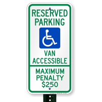North Carolina Reserved Parking, Van Accessible Signs