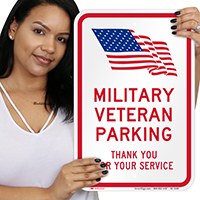 Military Veteran Parking Signs with USA Flag