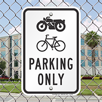 Motorbike or Bicycle Parking Only Signs