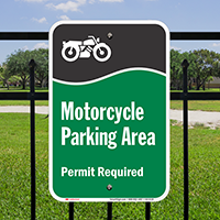 Motorcycle Parking Area Permit Required Signs