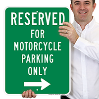 Reserved For Motorcycle Parking Only Signs (Right Arrow)