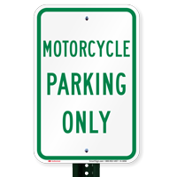 MOTORCYCLE PARKING ONLY Aluminum Reserved Parking Signs