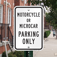 Motorcycle Or Microcar Parking Only Reserved Parking Signs