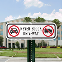Never Block Driveway Parking Restriction Signs