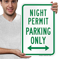 Night Permit Parking Only Bidirectional Arrow Signs