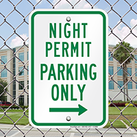 Night Permit Parking Only With Right Arrow Signs