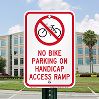 No Bike Parking On Handicap Access Ramp Reflective Sign