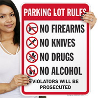 Parking Lot Rules No Firearms Drugs Alcohol Signs
