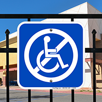 No Handicap Symbol Signs