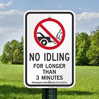 State Idle Signs for Philadelphia, Pennsylvania