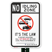 State Idle Signs for New Jersey