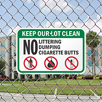No Littering Dumping Cigarette Butts Signs