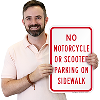 No Motorcycle Or Scooter Parking On Sidewalk Signs
