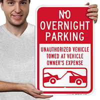 No Overnight Parking Vehicles Towed Signs