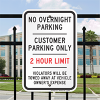 Customer Parking Only, 2 Hour Limit Signs